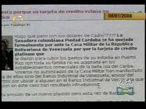 Tarjeta De credito de Piedad Cordoba es Venezolana