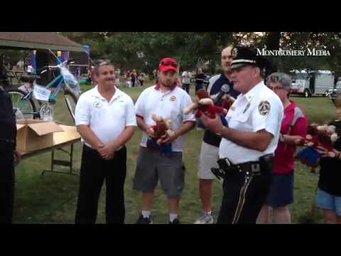 Souderton pool staff dunk tank & Tommy Moose presentation at Souderton Community Night Out