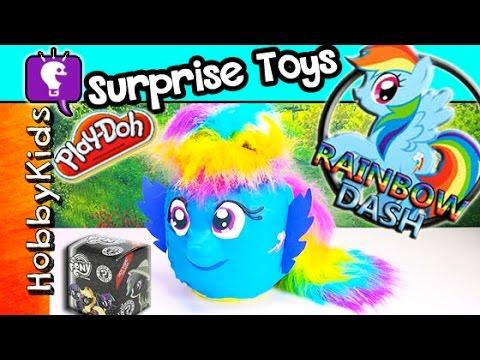 GIANT Lego Head Play-Doh Rainbow Dash Makeover + Surprise Toys Spongebob Choco Egg by HobbyKidsTV