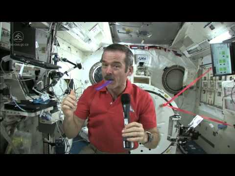 Astronaut Chris Hadfield Brushes his Teeth in Space | CSA ISS Science Full HD Video