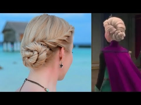 Frozen's Elsa hair tutorial. Updo hairstyle for prom/wedding/party