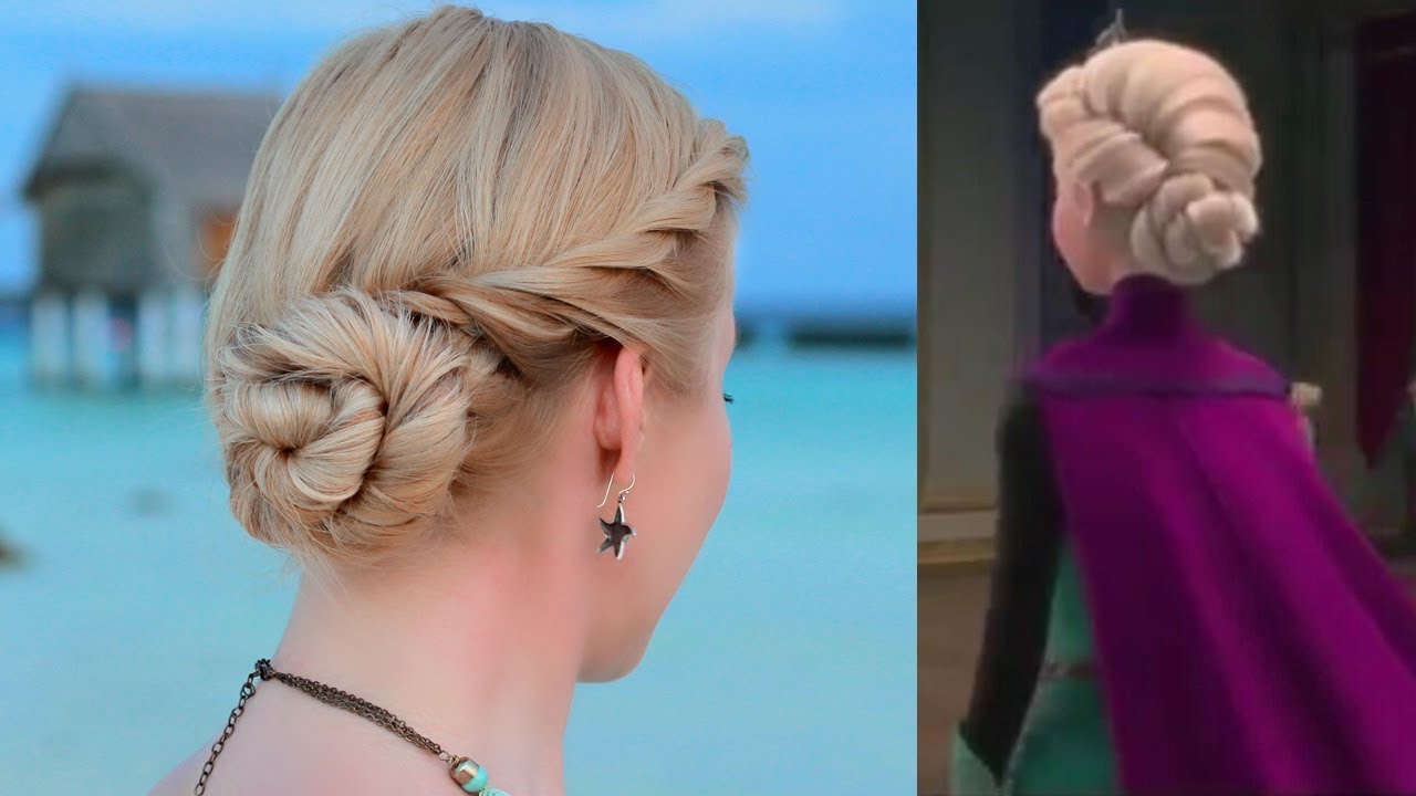 frozen 39 s elsa hair tutorial updo hairstyle for prom wedding party youtube. Black Bedroom Furniture Sets. Home Design Ideas