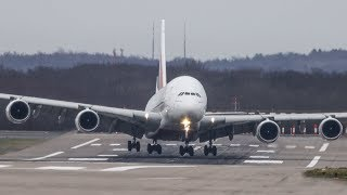 STORM CIARA - AIRBUS A380 Crosswind Landing during a storm at Düsseldorf (4K)