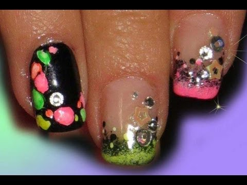 Bright Neon Nail Art with Black Accent Nail live video tutorial
