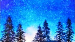 Starry Night watercolor painting tutorial, fast and easy step by step for beginners