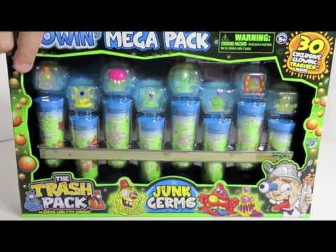 The Trash Pack Glowin Mega Pack Junk Germs Exclusive Collection Unboxing Toy Review Trashies