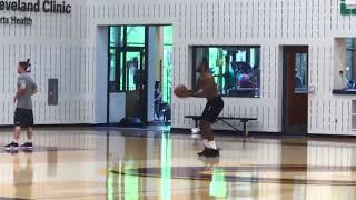 LeBron James last man on the floor at practice today. WARNING his reaction at the end