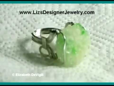 0 Green Chrysanthemum Jade Ring Sterling Silver