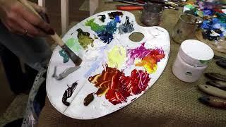 Техника быстрого рисования маслом - Пейзаж /  Quick oil painting - Landscape.