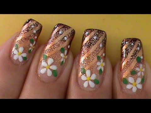 Daisy Flowers Ombre Gradient Nail Art Design Tutorial Video