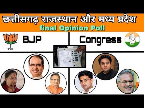 Chhattisgarh Rajasthan and Madhya Pradesh final Opinion Poll 2018