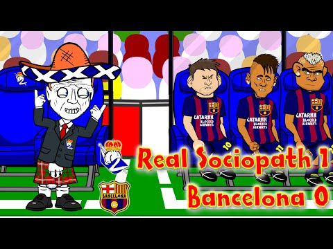 REAL SOCIEDAD vs BARCELONA 1-0 (4.1.15 Alba own goal David Moyes Football Cartoon by 442oons)