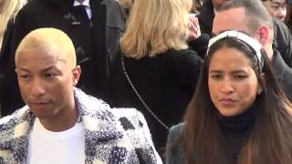 Pharrell Williams & wife Helen Lasichanh @ Paris 8 march 2016 Fashion Week show Chanel