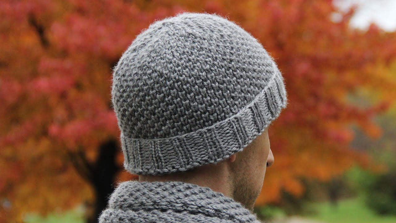 Mens Knitted Hat Patterns : How to knit mens hat - video tutorial with detailed ...