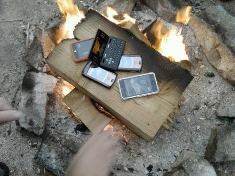 iphone 5 on fire burning with other phones and ipods
