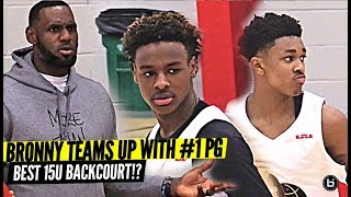 Bronny James Teams Up w/ #1 PG Dior Johnson in Nike EYBL BLOWOUT with LEBRON JAMES WATCHING!