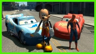 Spiderman and Mickey Mouse Disney Pixar Cars Lightning McQueen Superhero Movie!
