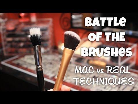 Mac 188 Small Duo Fiber Face Brush -vs- Real Techniques Foundation Brush