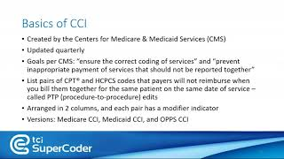 Using TCI SuperCoder's CCI Edit Tools for Medicare and Medicaid - Medical Coding Webinar