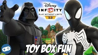 Black Suit Spiderman and Darth Vader Disney Infinity Toy Box Fun Gameplay Part 2