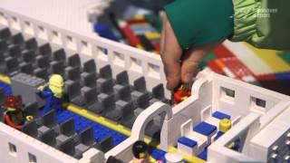 A LEGO ® airplane made of 9,764 bricks