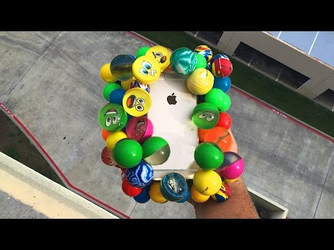 Can Bouncy Balls Protect iPhone 6 from 100 FT Drop Test onto Concrete? - GizmoSlip