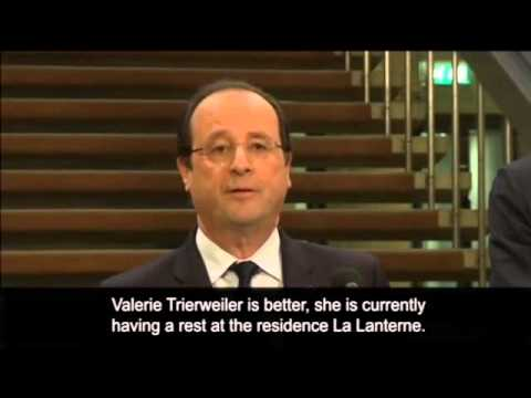 François Hollande: partner Valérie Trierweiler 'doing better' -- video