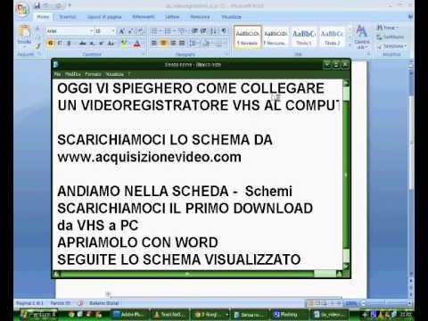 Acquisizione Video Grabber - VHS a PC  Collegamento Fisico - SCHEMA