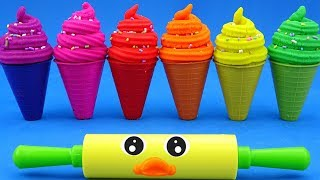 Making 6 Ice Cream out of Play Doh Wild Animals Surprise Toys Kinder Surprise Eggs