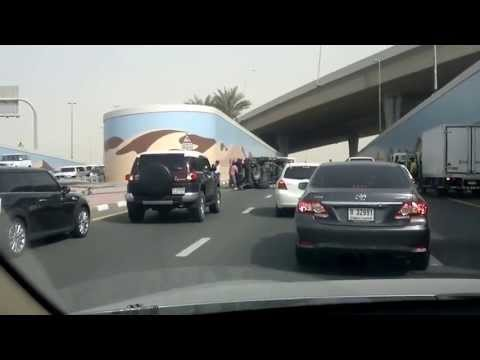 Horrible Car Accident, Dubai, Airport Road, 2013-May-15,