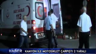 Kamyon ile motosiklet �arp��t� 2 yaral� ! (V�DEO)