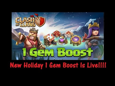 1 Gem Boost!! Clash Of Clans Holiday Christmas New Update! - Gameplay