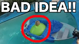 6FT MAN IN GIANT WATER BALLOON GONE WRONG!!!!! Almost Drowns!
