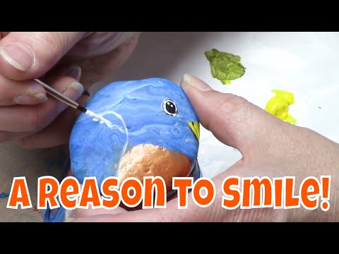 DIY Rock Painting Tutorial - Cute Bluebird for Hidden Rock Game