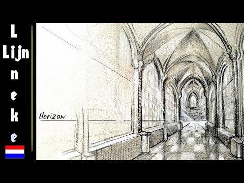 Hoe teken je perspectief Kerk Interieur met kruisboog gewelf ...