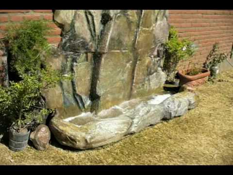 Cascada artificial de rocas para agua en jardines youtube for Piedras artificiales para jardin