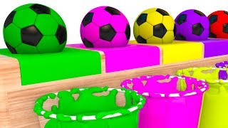 Colors With Fun Soccer Balls - Soccer Ball Cars Animation 3D Nursery Rhymes Color Song