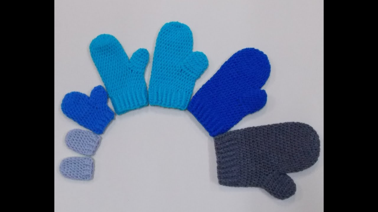 Knitting Pattern For Childrens Gloves With Fingers : Child Mittens Crochet Tutorial - YouTube