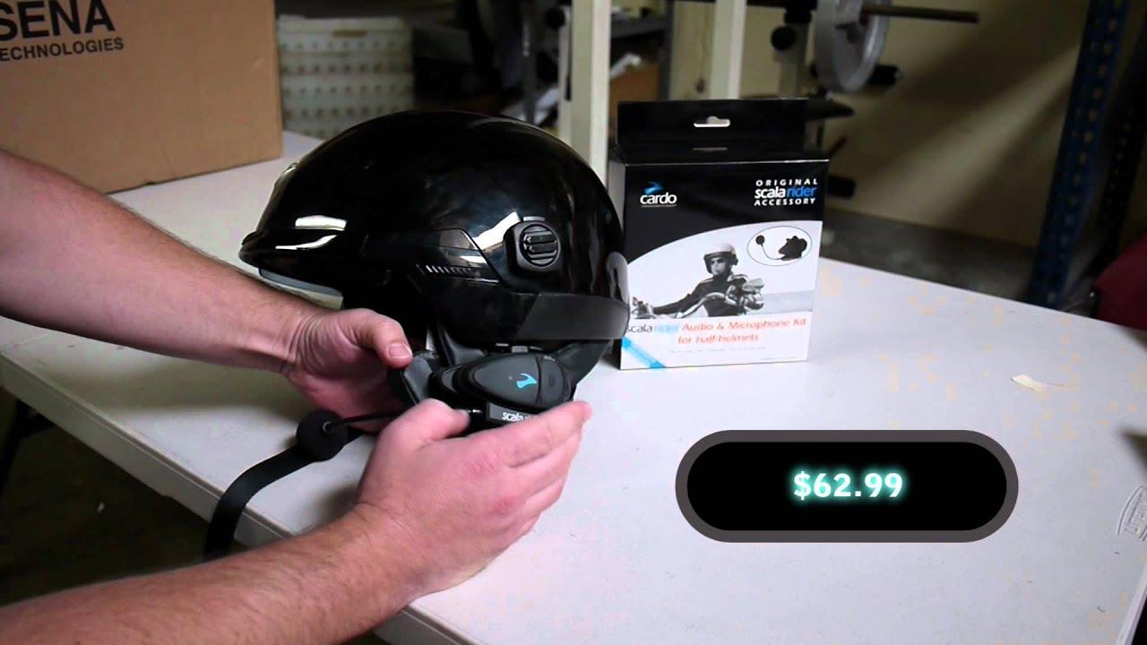 Cardo Scala Rider Half Helmet Headset For Bluetooth