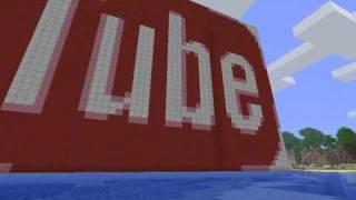 Youtube logo in Minecraft