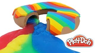 Play Doh How to Make a Giant Rainbow SLIME Jelly Donut RainbowLearning