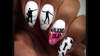 The Walking Dead Nail Stamping Tutorial | Uber Chic Zombie Love| Halloween #1