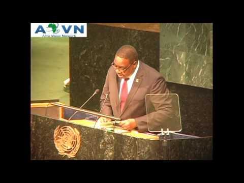 S.E.M Peter Mutharika President of Malawi A L'ONU 2015 www.avntv.net