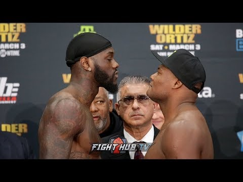 DEONTAY WILDER & LUIS ORTIZ SHARE STONE COLD STARES DURING FINAL FACE OFF! FULL WEIGH IN VIDEO