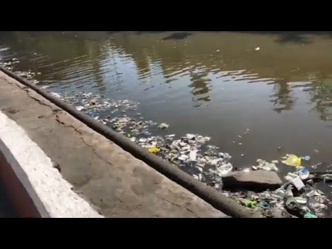 Our Trip to the Baclaran Church - Children Swimming in Polluted Drainage Canal - american filipina