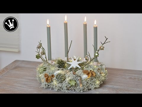 DIY - Adventskranz I Stacheldrahtpflanze, Zapfen, Naturdeko, Glasanhänger I LED Lichterkette