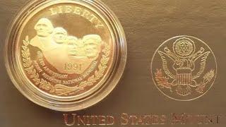 MOUNT RUSHMORE 50TH ANNIVERSARY 1991 Silver Dollar - США Доллар 1991 Серебро