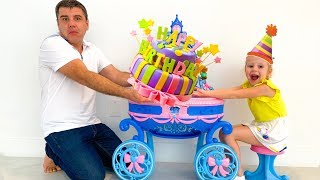 Nastya and dad - a series about the birthday.