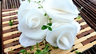 Art In Radish Flowers | Vegetable Carving Flower Roses Garnish | Party Food Decoration