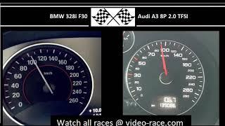 BMW 328i F30 VS. Audi A3 8P 2.0 TFSI - Acceleration 0-100km/h